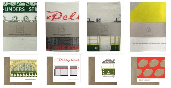 four tea towels and four cards